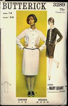 1960s Size 14 Bust 34 Mary Quant Shirt Shift Dress Butterick 3289 Vintage Sewing…