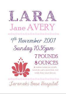 Personalised Birth Details Print (Mel)