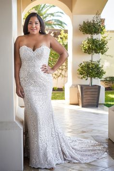 F221065N Glamorous Fit and Flare Strapless Sweetheart Gown with Hand Beaded Bodice and Sequin All Over Plus Wedding Dresses, Crepe Wedding Dress, Plus Size Wedding, Designer Wedding Dresses, Jasmine Bridal, Sexy Gown, Strapless Sweetheart Neckline, Curvy Bride, Bridal Photoshoot