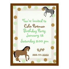Invitación del cumpleaños de los caballos