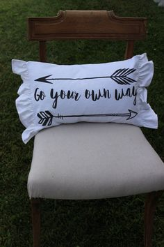Pillow (go your own way) by tatteredgoods on Etsy