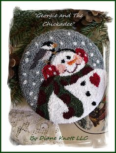My Georgie and The Chickadee, snowman with his little birdie friend, downloadable pattern needlework design, is one of my newest ventures, punch needle patterns...many were inspired by my previously licensed watercolor art images. Georgie has been one of my best-licensed designs on so