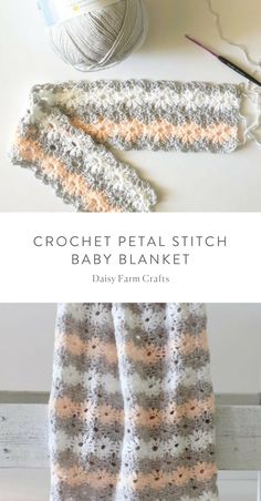 Free Pattern - Crochet Petal Stitch Baby Blanket # crochet baby blanket free pattern for beginners Daisy Farm Crafts Crochet Baby Blanket Free Pattern, Crochet Baby Blanket Beginner, Beginner Crochet, Crochet Motifs, Crochet Stitches Patterns, Crochet Granny, Crochet Crafts, Crochet Projects, Farm Crafts