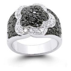 Bling Jewelry Flower Black and White CZ Silver Tone Ring ($46) ❤ liked on Polyvore