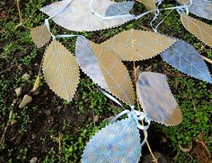 leaf garland from upcycled billboard Leaf Garland, Blue Leaves, Recycled Fabric, Blue Satin, Billboard, Peter Pan, Different Colors, Light Blue, Fabrics