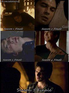 The season finales definitely do not treat Damon well.