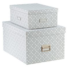 "Our Milano Graphic Storage Boxes Large one = 15"" X 20"" X 11 3/8"" high. $28 at the Container Store."