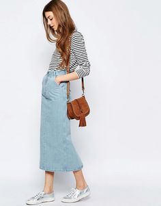 Image 1 ofASOS Denim High Waisted Slim Midi Skirt in Light Wash Blue