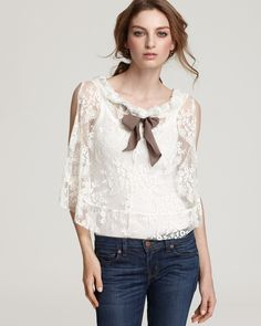 fly away lace bow neck top