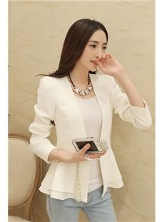 Shop Pure White Falbala Hem Slim Long Sleeves Blazer on sale at Tidestore with trendy design and good price. Come and find more fashion Blazers here. Blazers For Women, Women Blazer, Cheap Blazers, Black Blazers, Outerwear Women, Outerwear Jackets, Skirt Suit, White Long Sleeve, Blazer Jacket