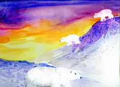 polar bear project variation. finger dabbed sunset, saran wrap textured hills, textured fur w acrylic paint. looooove it