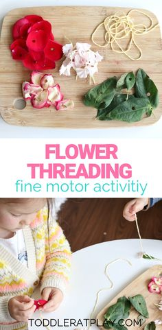 This Flower Threading Activity is an easy and fun way to use up old flowers. Isn't it nice to have an activity ready for your toddlers without heading out to the store for supplies? I love it!  #flowerthreading #recycledcrafts #finemotoractivity Fun Crafts, Crafts For Kids, Arts And Crafts, Indoor Activities For Kids, Preschool Activities, Spring Theme, Crafty Kids, Recycled Crafts, Threading
