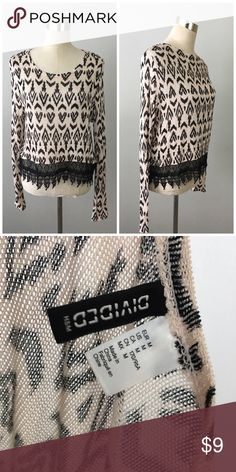 H&M Boho Print Crochet Hem Nude & Black Sweater H&M Boho Print Crochet Hem Nude & Black Sweater. Size medium with stretch. Thank you for looking at my listing. Please feel free to comment with any questions (no trades/modeling).  •Condition: GUC, no visible flaws.   ✨Bundle and save!✨10% off 2 items, 20% off 3 items & 30% off 5+ items! GB H&M Sweaters