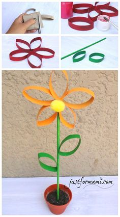 Flowers made with recycled toilet paper tubes, can be used as decoration . Toilet Roll Craft, Toilet Paper Roll Art, Toilet Paper Roll Crafts, Cardboard Crafts, Spring Crafts For Kids, Fun Crafts For Kids, Crafts To Make, Paper Towel Roll Crafts, Paper Plate Crafts