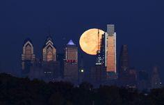 November, 2016 Supermoon appears over Philadelphia skyline. PHoto Joseph Kaczmarek