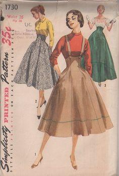 MOMSPatterns Vintage Sewing Patterns - Simplicity 1730 Vintage 50's Sewing Pattern AMAZING Rockabilly Pin Up Girl Built Up Waist, High Rise ...