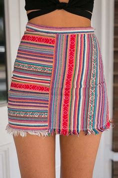 Red Stripe Print Raw Hem Bodycon Skirt | Psychedelic Monk