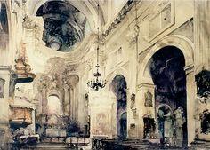 Arhitektor-akvarelist-Paul-Dmoch.-Nef-Eglise-des-Piaristes-Cracovie (700x503, 445Kb)