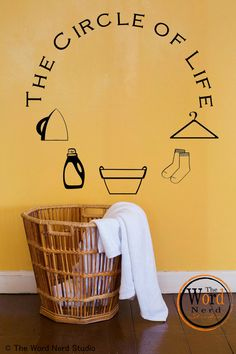 Washer Dryer Vinyl Decals, Appliance Decals, Circle of Life Vinyl Decal for Washer, Top Loading Washer Decals, Laundry Room Decals Laundry Room Decals, Laundry Room Organization, Smelly Laundry, Silhouette Cameo Vinyl, Vinyl Storage, Circle Of Life, Closet Storage, Vinyl Projects, Washer And Dryer