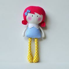 """My Teeny-Tiny Dolls® are 11"""" Handmade Fashion Dolls. Made from cotton and wool felt fabrics, filled with polyfil for softness.Due to the handmade nature of the doll, suitable for children 3+ Children should be supervised during play.© Cook You Some Noodles 2014"""