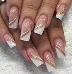 - French Nails Nude Quadratisch Spitze Weiß Dreieckig Lang Elegant Brautnagel Ring … – French Na - Elegant Bridal Nails, Bridal Nail Art, Elegant Nails, Stylish Nails, French Nails, French Manicure Nails, Nude Nails, Gel Nails, Nail Polish
