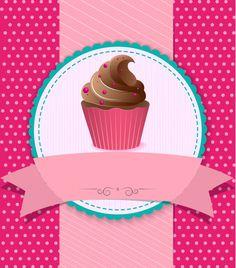 Cupcake Illustration, Cupcake Logo, Cupcake Vector, Rose Cupcake, Cupcake Vintage, Fondant Cupcake Toppers, Cupcake Cakes, Baking Logo, Cake Logo Design