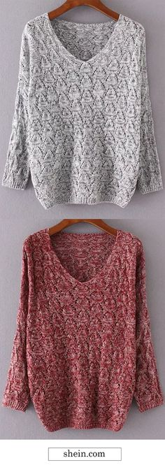 Basic sweater with textured fabric. loose fit & v neck.