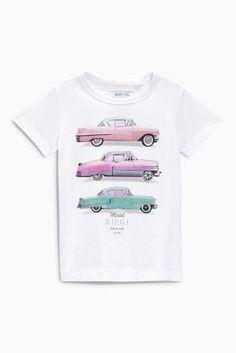 Купить Белая футболка с принтом машинок (3 мес.-6 лет) - Покупайте прямо сейчас на сайте Next: Россия