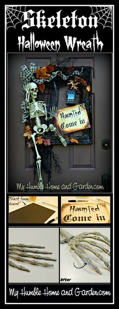 "Complete instructions for this DIY ""Skeleton Wreath"" can be found on MyHumbleHomeandGarden.com!"