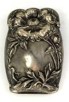 Art Nouveau Match Safe Sterling Silver Poppy Design