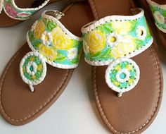Hand Painted Sandals in the style of Jack Rogers with by luckyleaf