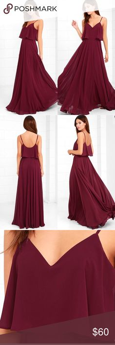 Lulus love runs high burgundy maxi dress Burgundy woven poly falls from adjustable straps into a tiered, triangle bodice above a cascading maxi skirt full of volume. Hidden side zipper. Fully lined. 100% Polyester. Hand Wash Cold. TAGS HAVE BEEN CUT OUT FROM THE INSIDE OF THE GARMENT TO PREVENT RETURNS TO THE MANUFACTURERS MAIN WAREHOUSE. SIZE HAS BEEN PENNED INSIDE DRESS. See photos all sales final Lulu's Dresses Maxi