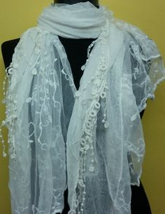 White  Women Shawl Scarf  Headband Necklace Cowl with by fatwoman, $19.00