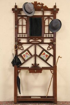 Hall Stand & Mirror, 1890 English Oak & Tile Antique.