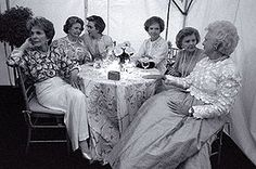 Former First Ladies Nancy Reagan, Lady Bird Johnson, Rosalynn Carter, Betty Ford, Barbara Bush, and First Lady Hillary Rodham Clinton at the National Garden Gala, A Tribute to America's First Ladies, May 11, 1994. Jacqueline Kennedy Onassis, absent due to illness, died a week after this photograph was taken.