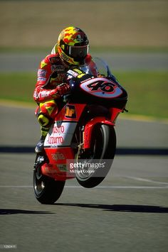 Valentino Rossi of Italy and the Nastro Azzorro Aprilia team shows off his riding skills in the 250cc race during the 1998 Spanish Motorcycle Grand Prix at Jerez, Spain. \ Mandatory Credit: Mike Cooper /Allsport