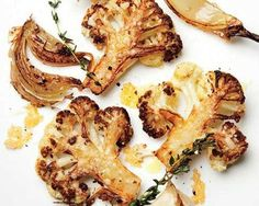 "Try this with cauliflower ""steak"" slices. Recipe and video, Bon Appetit. August is cauliflower season though available all the time. Meaty, caramelized cauliflower florets and some just-this-side-of-burnt onions all tossed with grated Parmigiano. Vegetable Side Dishes, Vegetable Recipes, Vegetarian Recipes, Cooking Recipes, Healthy Recipes, Cooking Tips, Healthy Snacks, Vegetarian Lifestyle, Veggie Side"