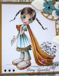 Creadin Copics: Skin: E000-00-11-13; Hair: E44-42-40-49; Dress: BG70-72-78, W7; Pants: BG90-93-W7; Shoes and Copic: W00 1-3; Travelbag: YR20-21-24-27-14; Heart: R81-85