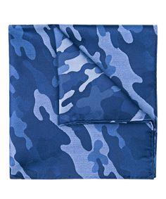 Navy camouflage zijde pochet
