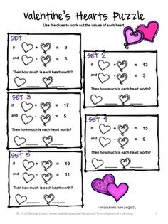 FREEBIE - The kids will LOVE math with these Valentine's Day Math Puzzles by Games 4 Learning contains 2 printable Valentine's Math Puzzles