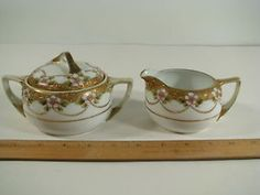 Vintage Nippon China Porcelain Hand Painted Gold & Flowers Creamer and Sugar Set