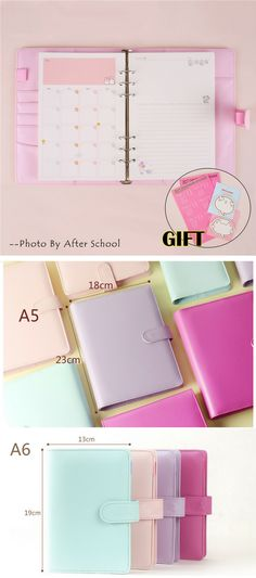 US $13.14 -- AliExpress.com Product - Macaron Notebook A5 A6 Note Book Leather Spiral Binder Planner Korean Kawaii Notepad Cover With Filler Papers