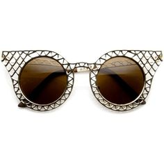 Womens Vintage Inspired Laser Cut Metal Criss Cross Cat Eye Sunglasses... (€14) ❤ liked on Polyvore featuring accessories, eyewear, sunglasses, cut out sunglasses, vintage eyewear, vintage cat eye sunglasses, vintage sunglasses and cat eye sunglasses