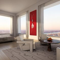 """Space Radish"" : Rendered at 432 Park, this stunning splash of red red is from one of our talented allied artists, Carlotta Schiavio ( whose work is available now on our website! Furniture, House Design, Interior Decorating, Interior, Luxury Homes, Interior Styling, Interior Design, Luxury Interior, Inspire Me Home Decor"