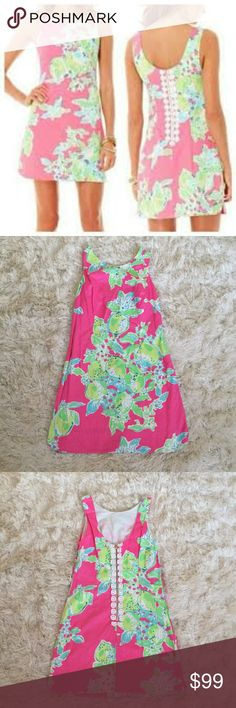 Lilly Pulitzer Pink Lemonade Delia Dress Sz 6 This Lilly Pulitzer dress is in amazing condition. This print name is pink Lemonade and it is darling. Its a size six and the back lace detail is a stunning detail that gets easily over looked because of how beautiful the prints are. This dress retails for $198. Thank you for looking! Lilly Pulitzer Dresses Midi