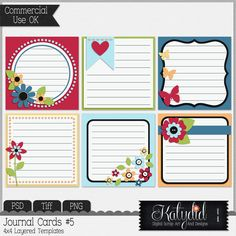 Journal or Pocket Scrapbooking Cards Layered Templates Pack No 5 PSD TIFF Digital Scrapbooking PNG Commercial Use CU Photoshop 4x4