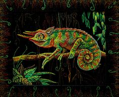 "Acrylic dot painting ""Chameleon"" by Lena Butenko 100% cute chameleon True jungle effect #Acrlylic #art #painting #artist #dotpainting #Chameleon #LenaButenko #jungle #picture #wildlife #artworkshop #artwork #painter #neopointillism #animals #dotart #lizard #cute"