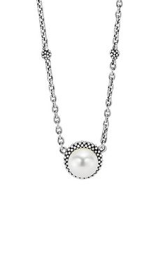 Free shipping and returns on LAGOS 'Luna' Pearl Pendant Necklace at Nordstrom.com. Signature Caviar beading modernizes the frame surrounding a luminous pearl pendant paired with an adjustable sterling-silver chain.