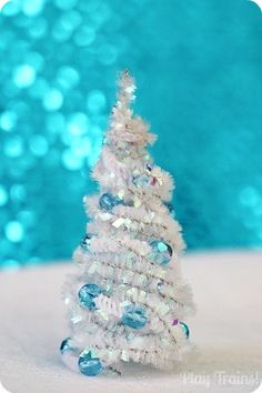 Pipe Cleaner Trees Christmas Craft. Make with cotton chenille stems and wood or glass beads