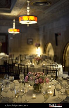 reception setup, table setting, pink peonies, white linens, historic venue, antique lighting, gold ceiling, architectural detail, Hartford, Society Room, Hartford, Connecticut